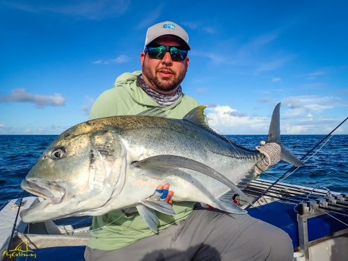 A fly caught Giant Trevally