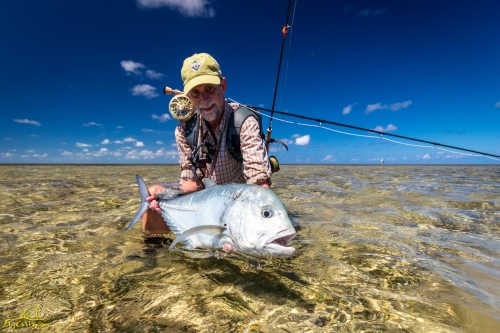 Flats fishing for Giant Trevally in Seychelles
