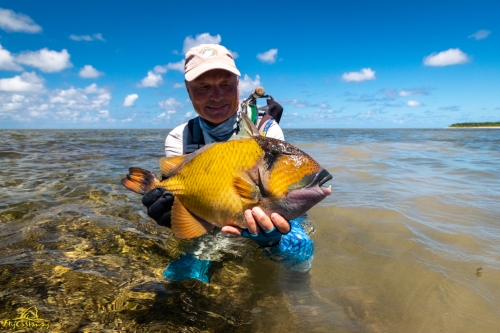 Fly fishing for Triggerfish on Providence Atoll, Seychelles