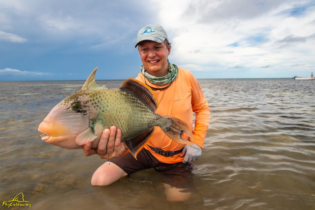 Fly fishing for Triggerfish in Seychelles